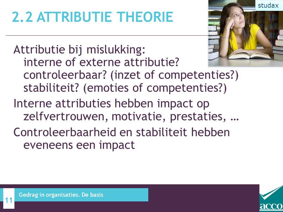 Attributie bij mislukking: interne of externe attributie? controleerbaar? (inzet of competenties?) stabiliteit? (emoties of competenties?) Interne att