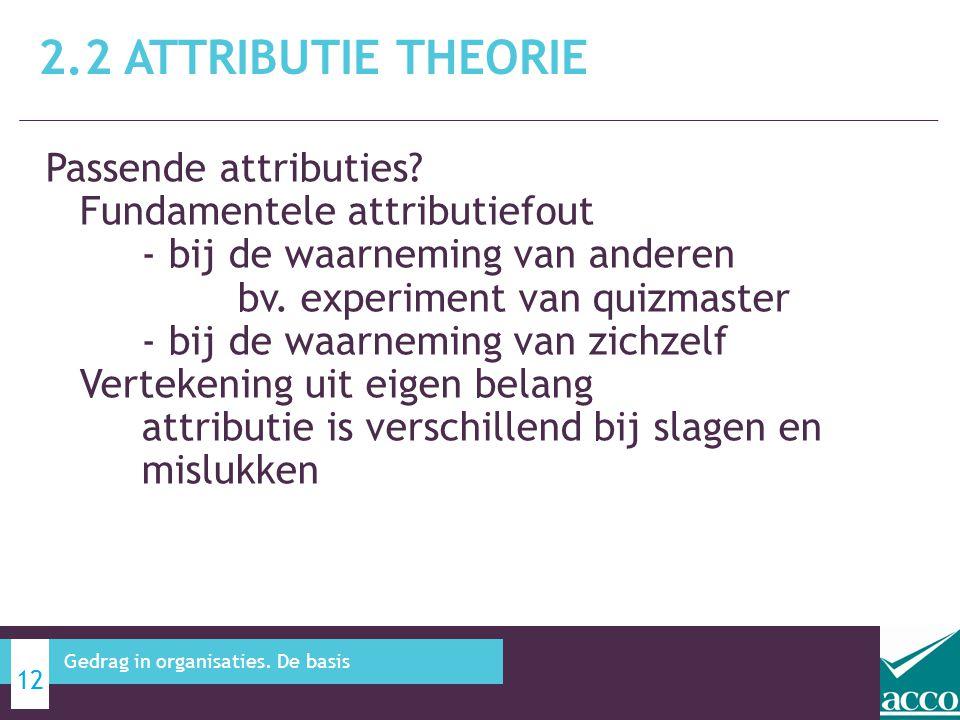 Passende attributies? Fundamentele attributiefout - bij de waarneming van anderen bv. experiment van quizmaster - bij de waarneming van zichzelf Verte