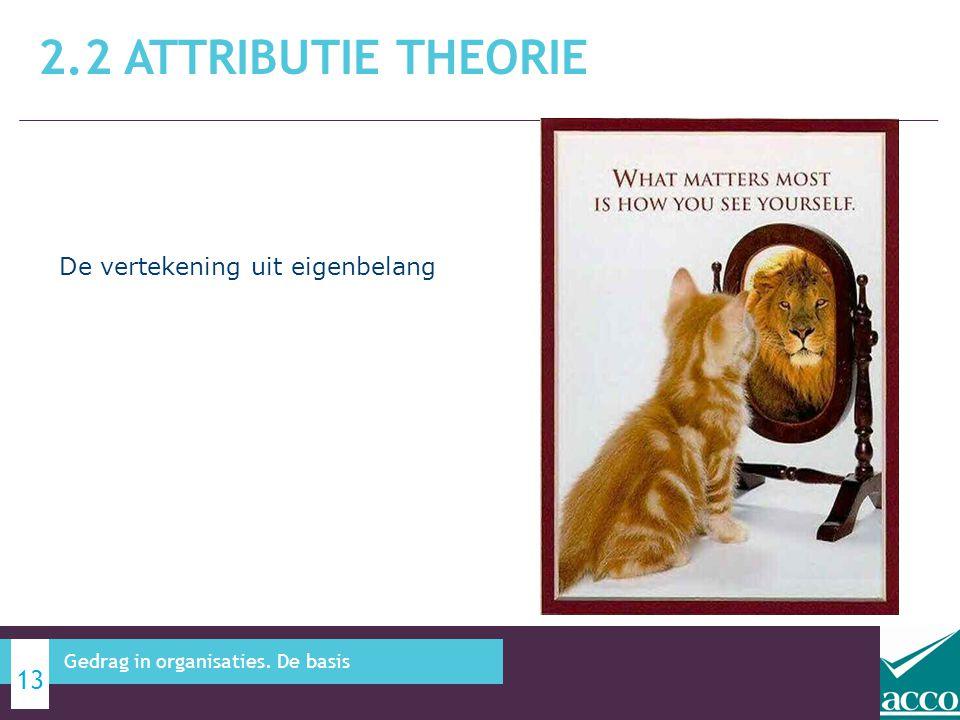 2.2 ATTRIBUTIE THEORIE 13 Gedrag in organisaties. De basis De vertekening uit eigenbelang