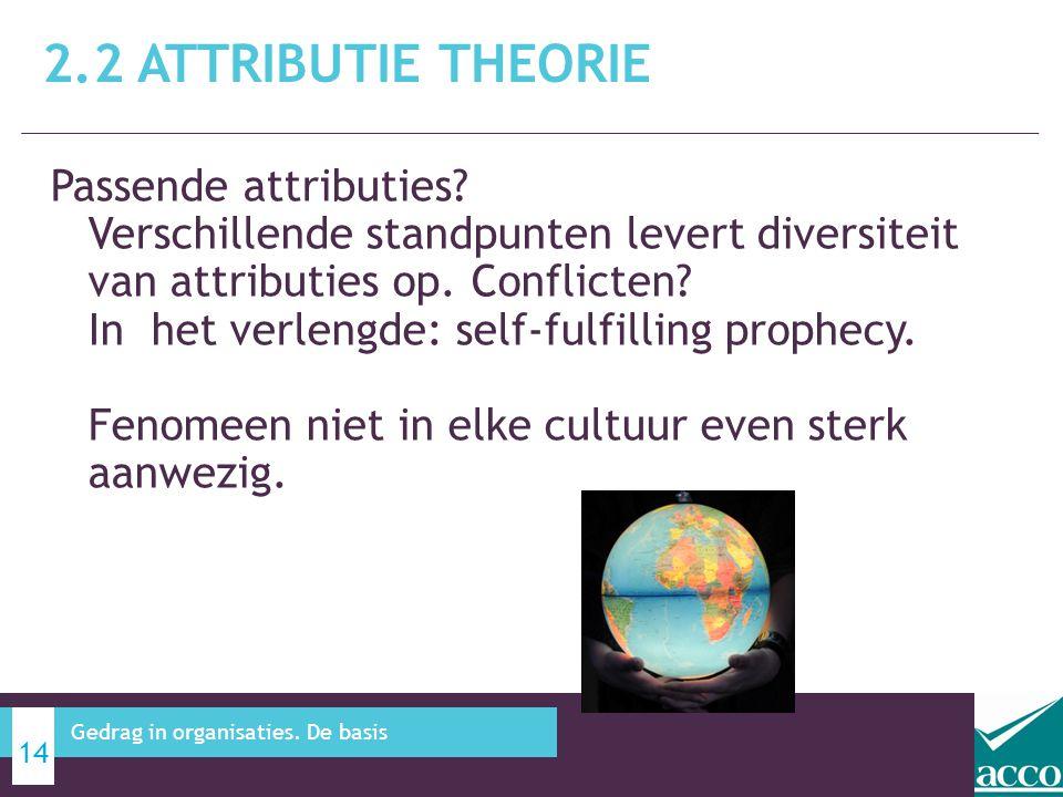 Passende attributies? Verschillende standpunten levert diversiteit van attributies op. Conflicten? In het verlengde: self-fulfilling prophecy. Fenomee