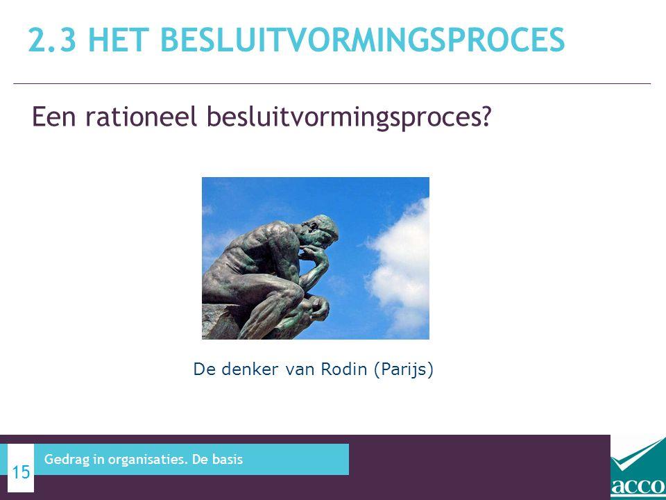 Een rationeel besluitvormingsproces? 2.3 HET BESLUITVORMINGSPROCES 15 Gedrag in organisaties. De basis De denker van Rodin (Parijs)