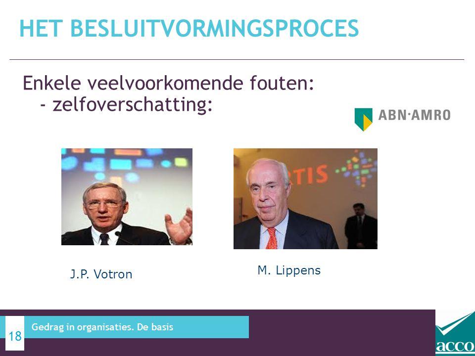 Enkele veelvoorkomende fouten: - zelfoverschatting: HET BESLUITVORMINGSPROCES 18 Gedrag in organisaties. De basis J.P. Votron M. Lippens