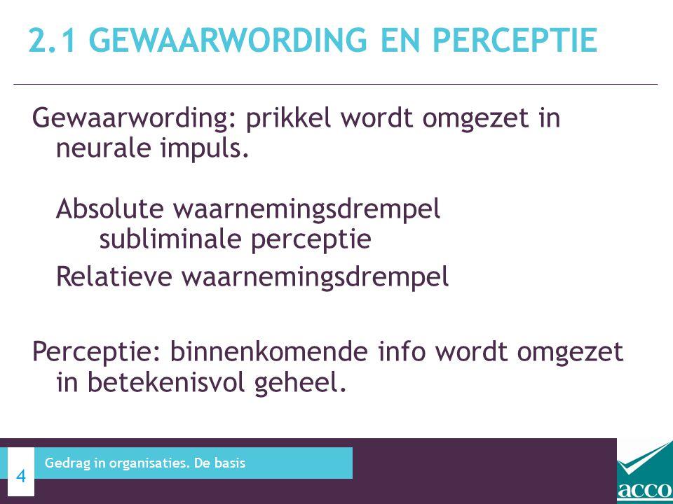Gewaarwording: prikkel wordt omgezet in neurale impuls. Absolute waarnemingsdrempel subliminale perceptie Relatieve waarnemingsdrempel Perceptie: binn