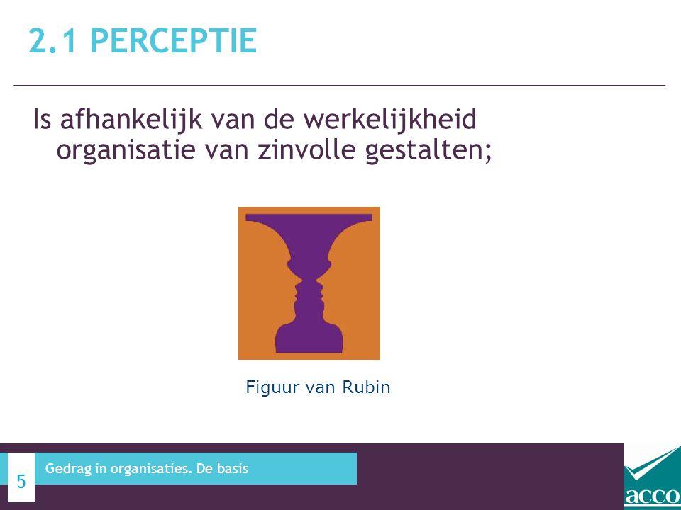 Is afhankelijk van de werkelijkheid organisatie van zinvolle gestalten; 2.1 PERCEPTIE 5 Gedrag in organisaties. De basis Figuur van Rubin