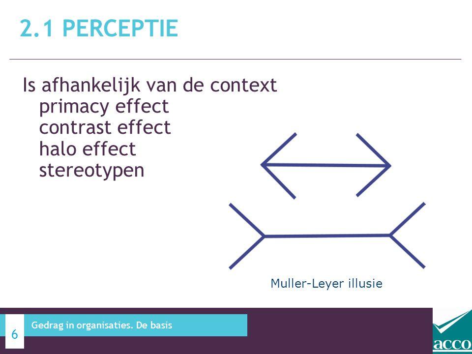 Is afhankelijk van de context primacy effect contrast effect halo effect stereotypen 2.1 PERCEPTIE 6 Gedrag in organisaties. De basis Muller-Leyer ill