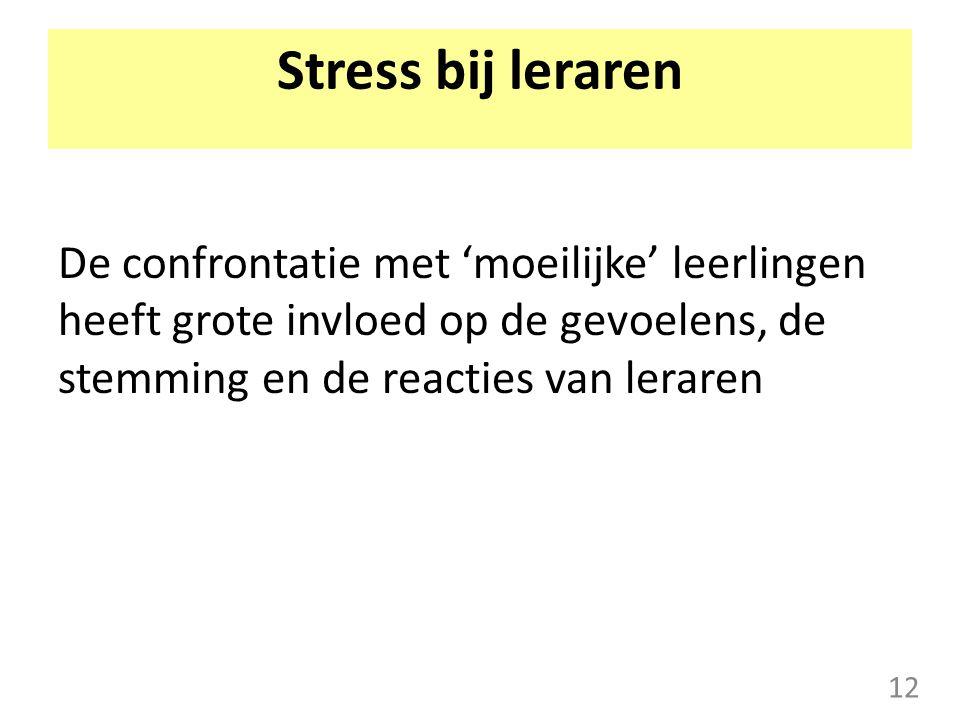 Stress bij leraren De confrontatie met 'moeilijke' leerlingen heeft grote invloed op de gevoelens, de stemming en de reacties van leraren 12
