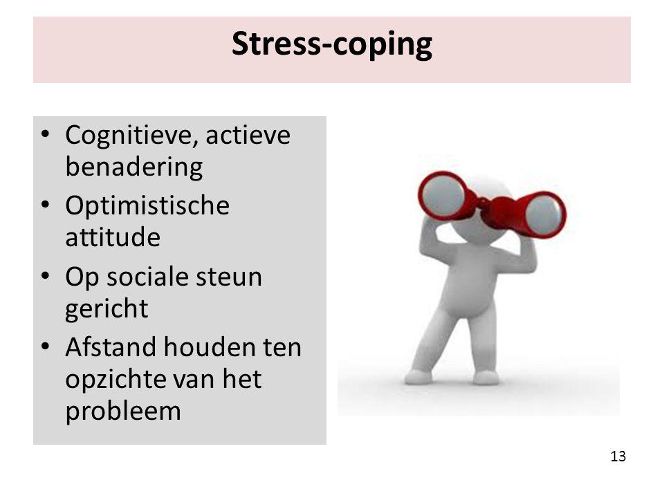 Stress-coping Cognitieve, actieve benadering Optimistische attitude Op sociale steun gericht Afstand houden ten opzichte van het probleem 13