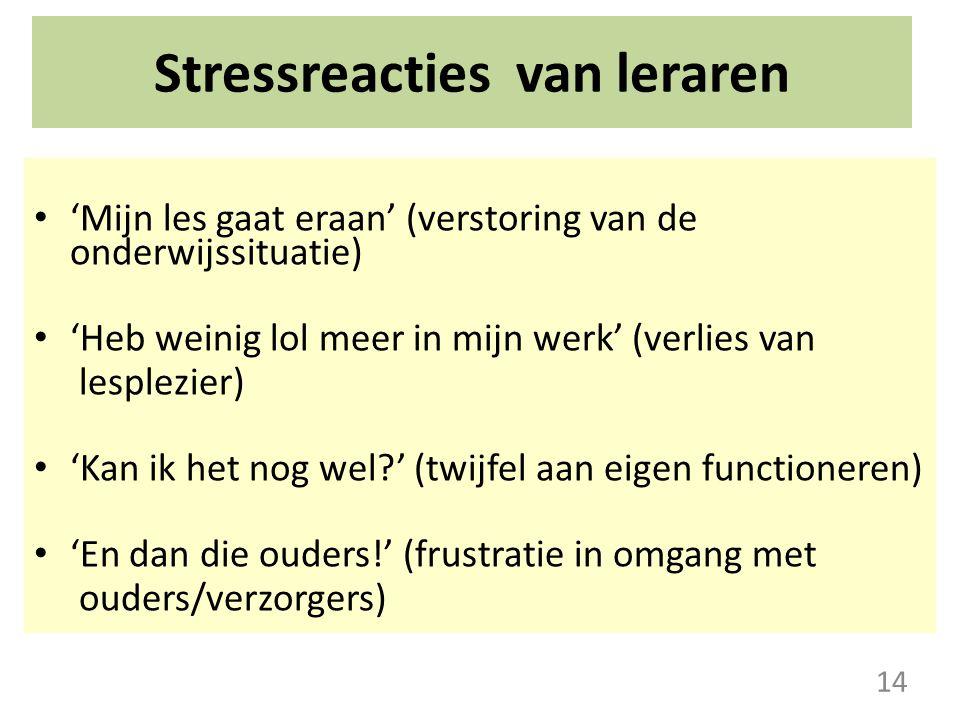 Stressreacties van leraren 'Mijn les gaat eraan' (verstoring van de onderwijssituatie) 'Heb weinig lol meer in mijn werk' (verlies van lesplezier) 'Ka