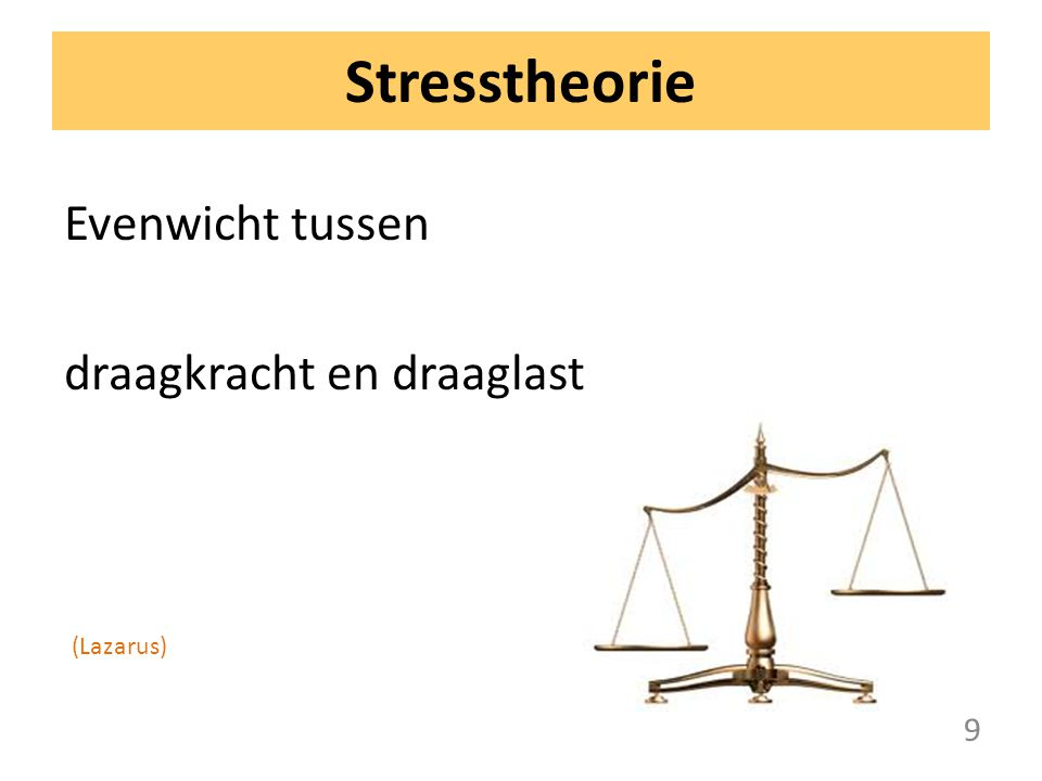 Stresstheorie Evenwicht tussen draagkracht en draaglast (Lazarus) 9