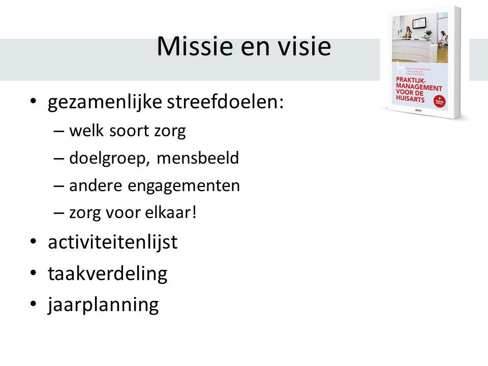 Missie en visie gezamenlijke streefdoelen: – welk soort zorg – doelgroep, mensbeeld – andere engagementen – zorg voor elkaar.