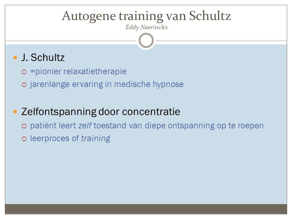 Autogene training van Schultz Eddy Neerinckx J. Schultz  =pionier relaxatietherapie  jarenlange ervaring in medische hypnose Zelfontspanning door co