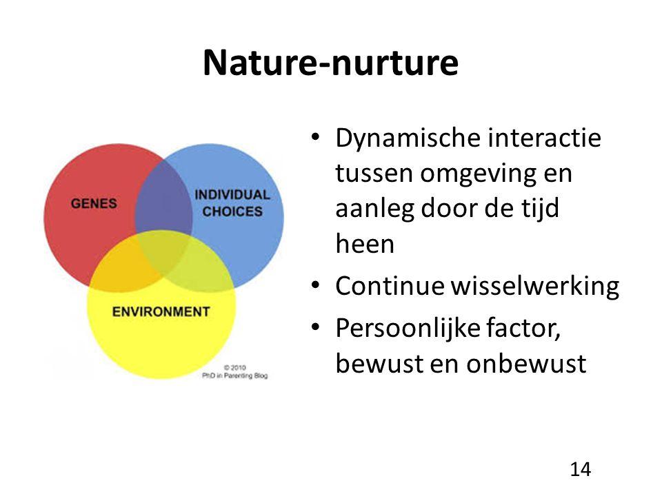 Nature-nurture Dynamische interactie tussen omgeving en aanleg door de tijd heen Continue wisselwerking Persoonlijke factor, bewust en onbewust 14