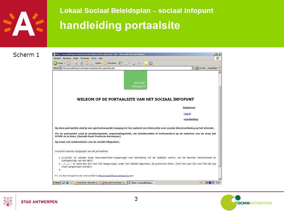 Lokaal Sociaal Beleidsplan – sociaal infopunt 3 handleiding portaalsite Scherm 1