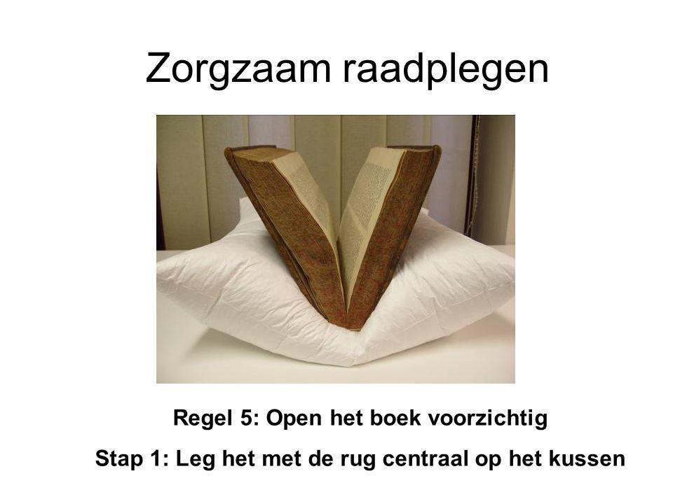 Zorgzaam raadplegen Regel 5: Open het boek voorzichtig Stap 1: Leg het met de rug centraal op het kussen