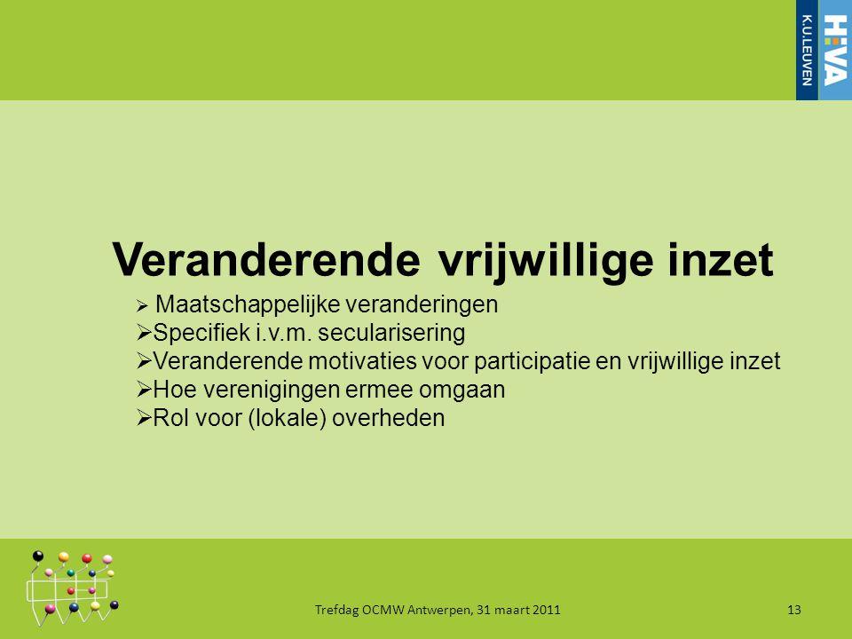 Veranderende vrijwillige inzet Trefdag OCMW Antwerpen, 31 maart 201113  Maatschappelijke veranderingen  Specifiek i.v.m.