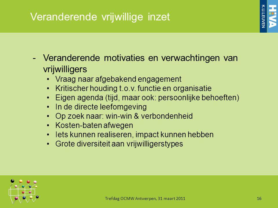 Veranderende vrijwillige inzet -Veranderende motivaties en verwachtingen van vrijwilligers Vraag naar afgebakend engagement Kritischer houding t.o.v.