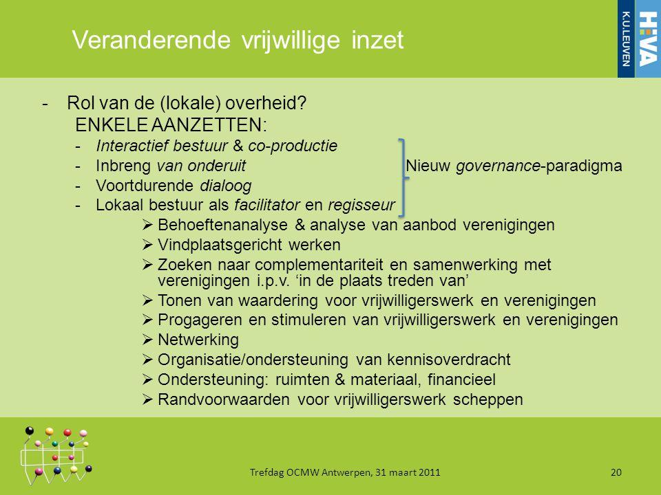 Veranderende vrijwillige inzet -Rol van de (lokale) overheid.