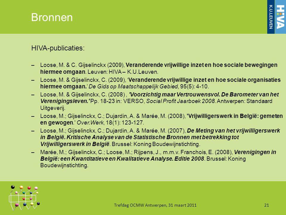 Bronnen HIVA-publicaties: –Loose, M. & C.