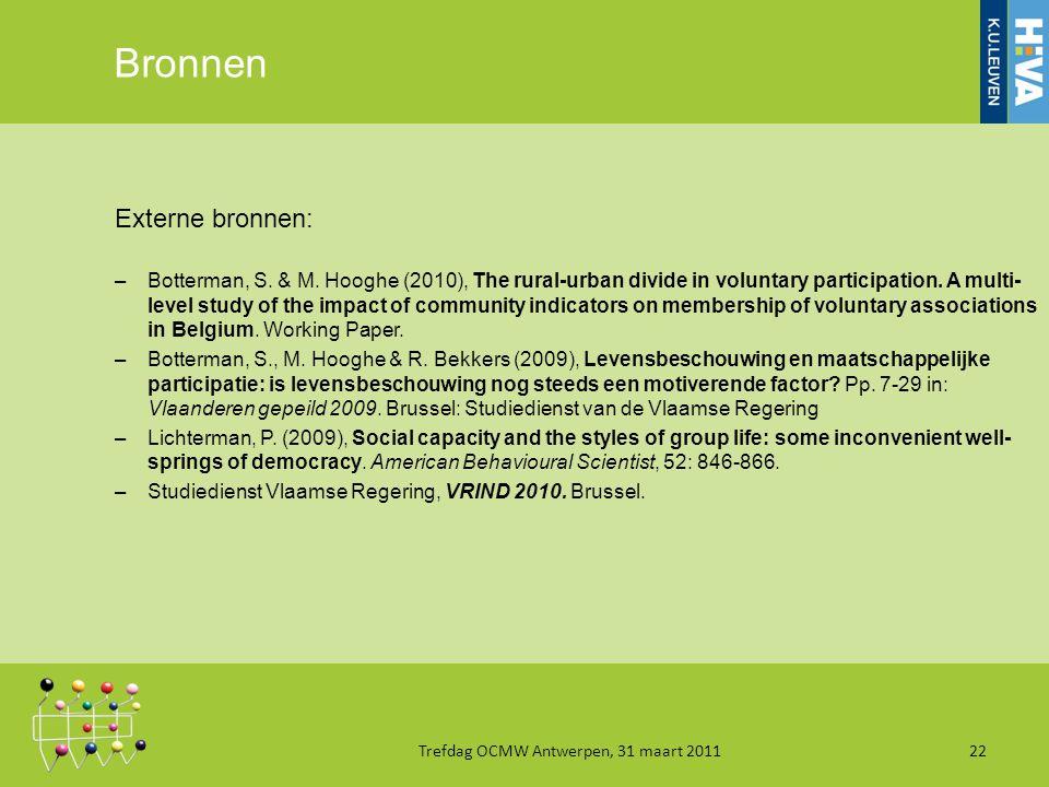 Bronnen Externe bronnen: –Botterman, S. & M.