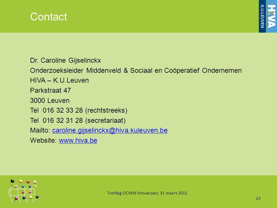 Contact Dr. Caroline Gijselinckx Onderzoeksleider Middenveld & Sociaal en Coöperatief Ondernemen HIVA – K.U.Leuven Parkstraat 47 3000 Leuven Tel 016 3