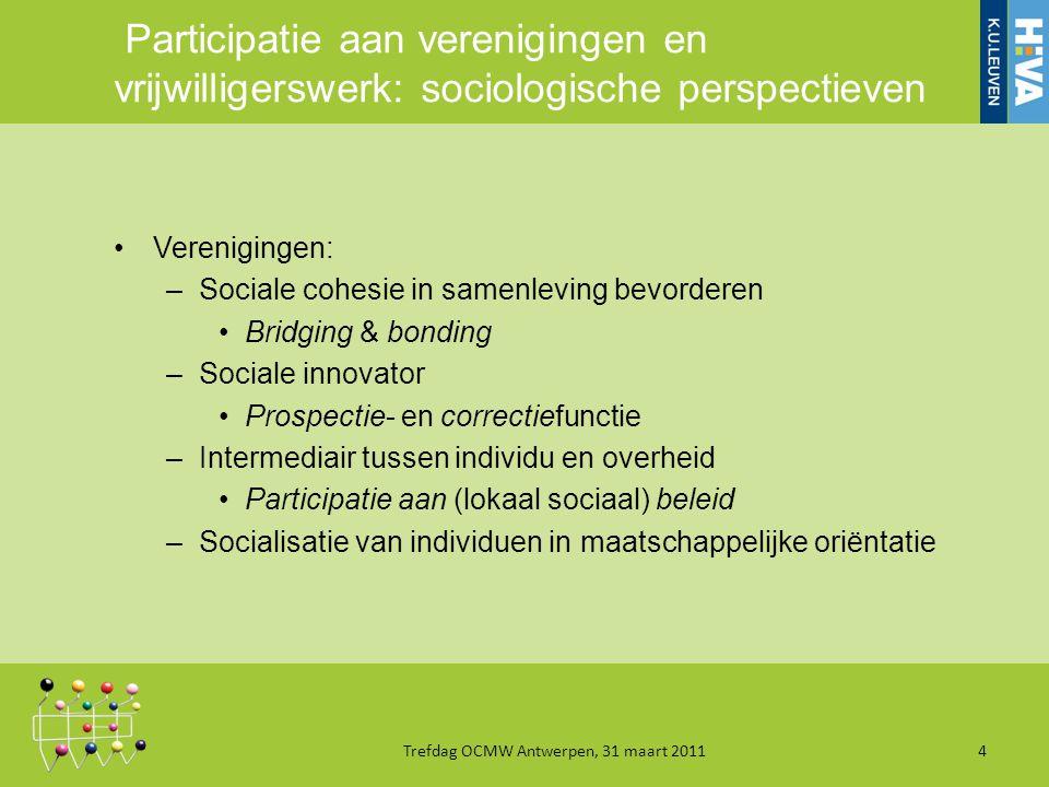 Participatie aan verenigingen en vrijwilligerswerk: sociologische perspectieven Verenigingen: –Sociale cohesie in samenleving bevorderen Bridging & bonding –Sociale innovator Prospectie- en correctiefunctie –Intermediair tussen individu en overheid Participatie aan (lokaal sociaal) beleid –Socialisatie van individuen in maatschappelijke oriëntatie Trefdag OCMW Antwerpen, 31 maart 20114