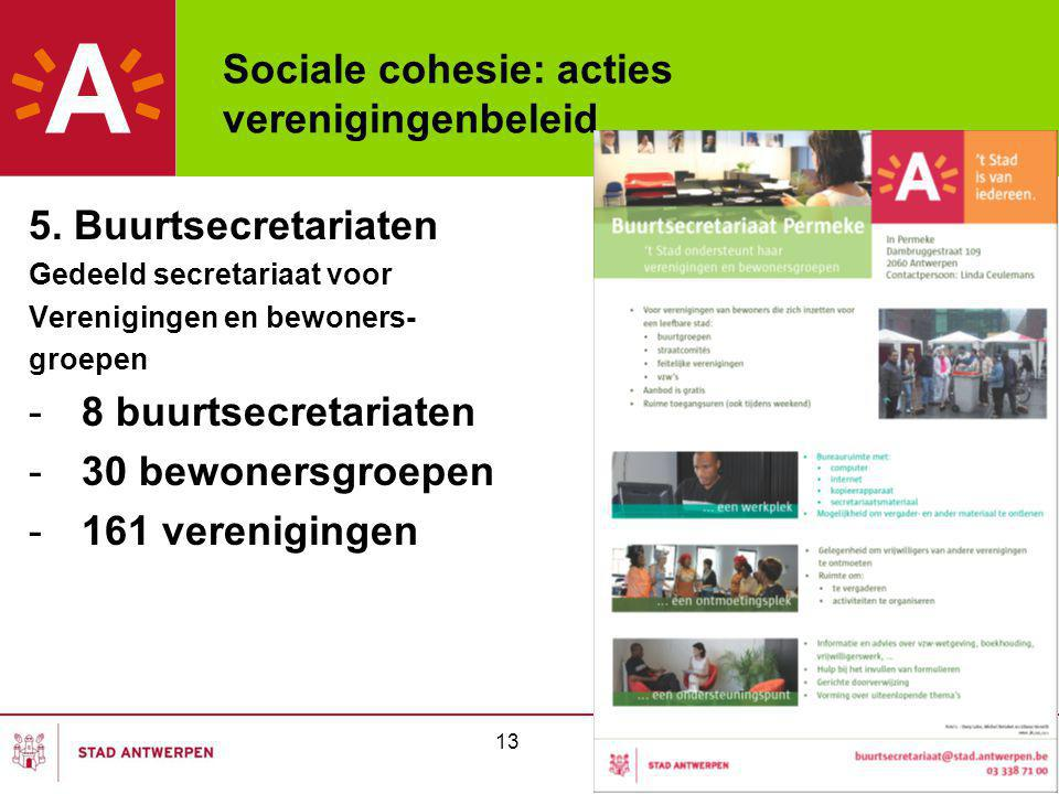 Sociale cohesie: acties verenigingenbeleid 5. Buurtsecretariaten Gedeeld secretariaat voor Verenigingen en bewoners- groepen -8 buurtsecretariaten -30