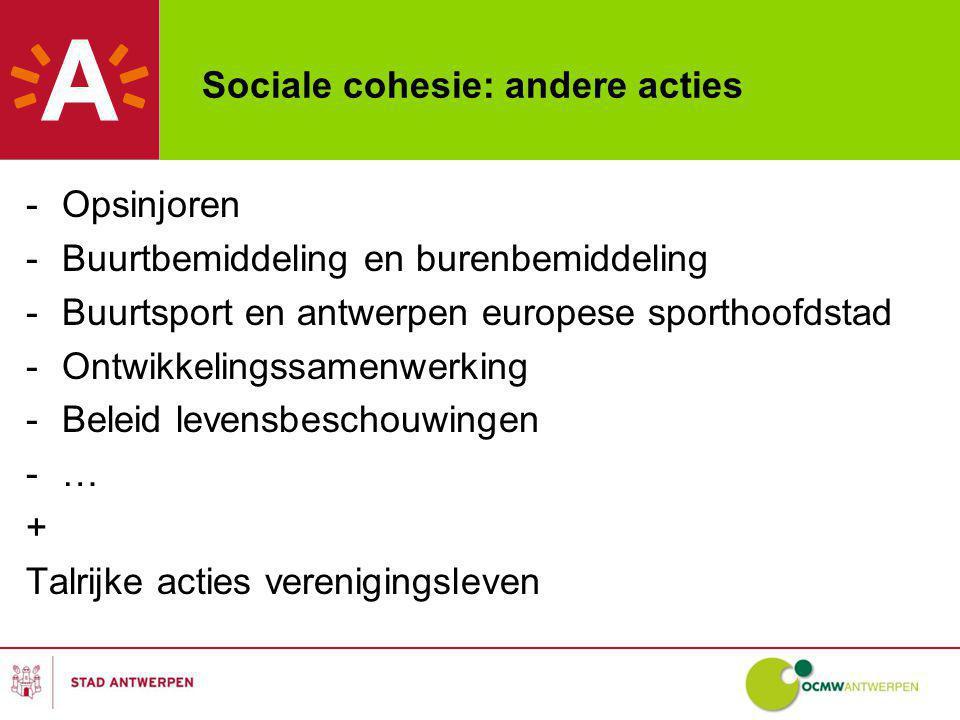 Sociale cohesie: andere acties -Opsinjoren -Buurtbemiddeling en burenbemiddeling -Buurtsport en antwerpen europese sporthoofdstad -Ontwikkelingssamenwerking -Beleid levensbeschouwingen -… + Talrijke acties verenigingsleven