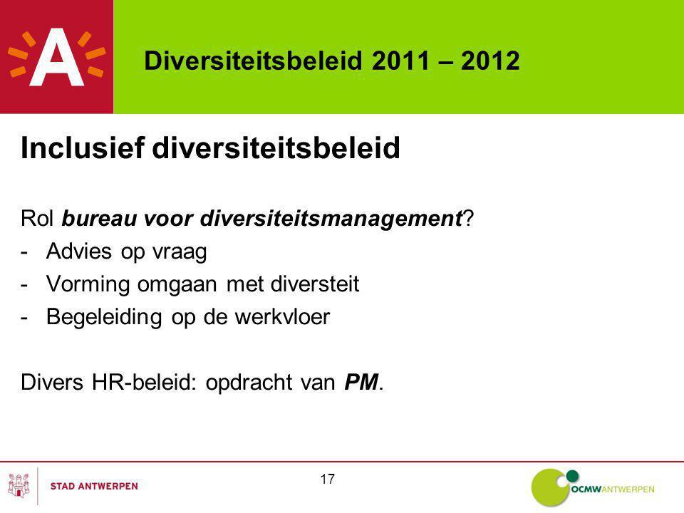 Diversiteitsbeleid 2011 – 2012 Inclusief diversiteitsbeleid Rol bureau voor diversiteitsmanagement? -Advies op vraag -Vorming omgaan met diversteit -B