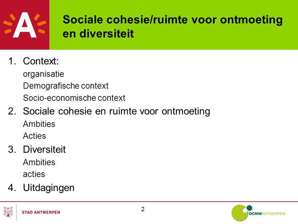 2 Sociale cohesie/ruimte voor ontmoeting en diversiteit 1.Context: organisatie Demografische context Socio-economische context 2.Sociale cohesie en ruimte voor ontmoeting Ambities Acties 3.Diversiteit Ambities acties 4.Uitdagingen