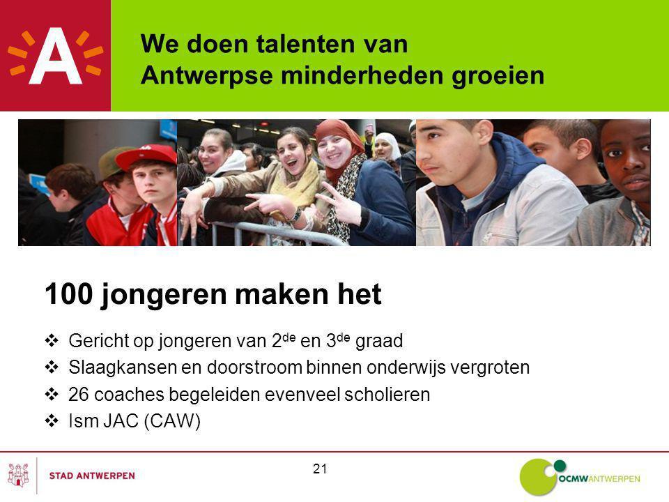 We doen talenten van Antwerpse minderheden groeien 100 jongeren maken het  Gericht op jongeren van 2 de en 3 de graad  Slaagkansen en doorstroom binnen onderwijs vergroten  26 coaches begeleiden evenveel scholieren  Ism JAC (CAW) 21