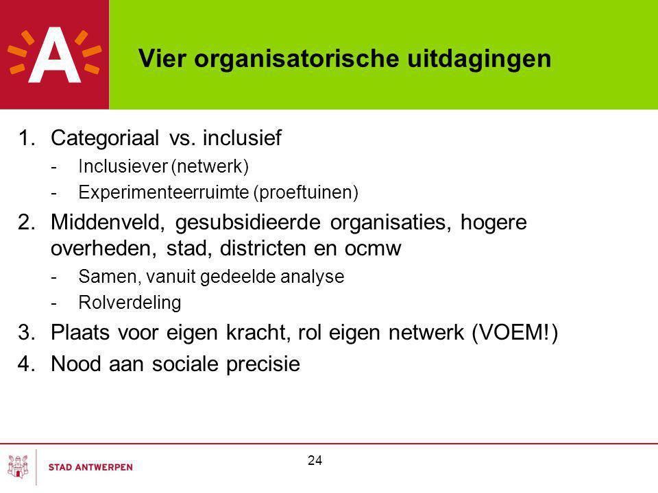 24 Vier organisatorische uitdagingen 1.Categoriaal vs. inclusief -Inclusiever (netwerk) -Experimenteerruimte (proeftuinen) 2.Middenveld, gesubsidieerd
