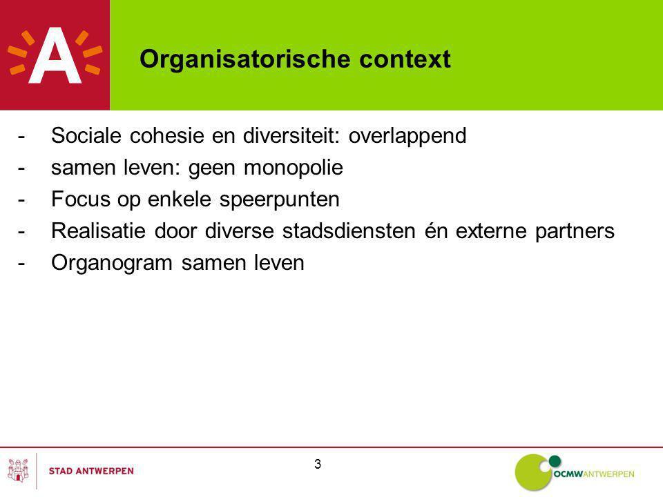 3 Organisatorische context -Sociale cohesie en diversiteit: overlappend -samen leven: geen monopolie -Focus op enkele speerpunten -Realisatie door diverse stadsdiensten én externe partners -Organogram samen leven