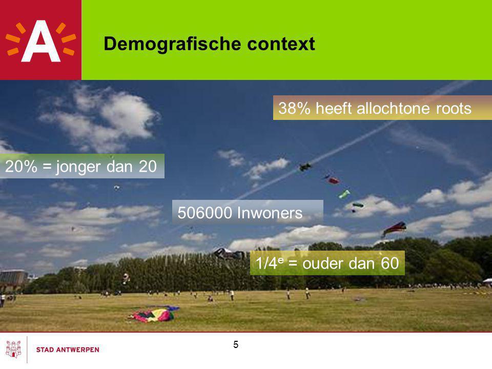 5 Demografische context 506000 Inwoners 20% = jonger dan 20 1/4 e = ouder dan 60 38% heeft allochtone roots