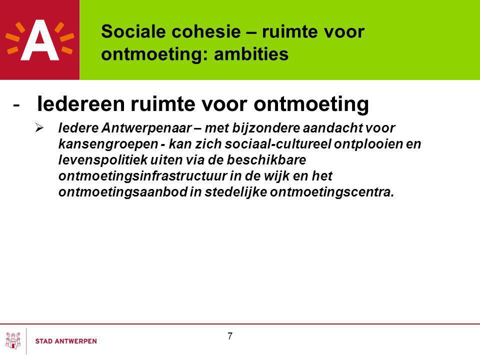 Sociale cohesie – ruimte voor ontmoeting: ambities -Iedereen ruimte voor ontmoeting  Iedere Antwerpenaar – met bijzondere aandacht voor kansengroepen - kan zich sociaal-cultureel ontplooien en levenspolitiek uiten via de beschikbare ontmoetingsinfrastructuur in de wijk en het ontmoetingsaanbod in stedelijke ontmoetingscentra.