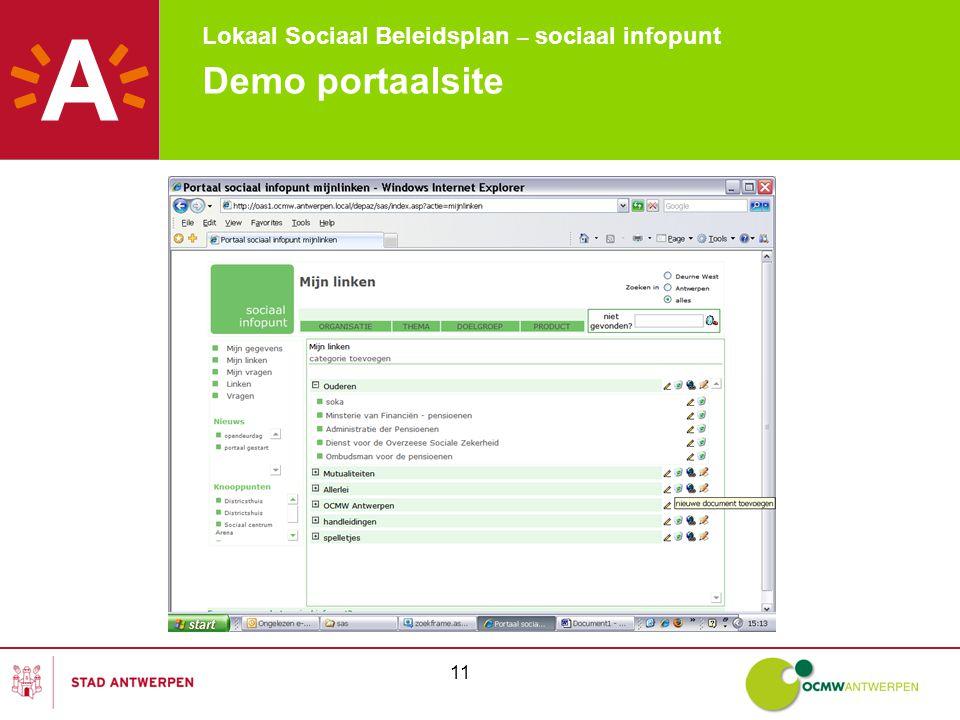 Lokaal Sociaal Beleidsplan – sociaal infopunt 11 Demo portaalsite