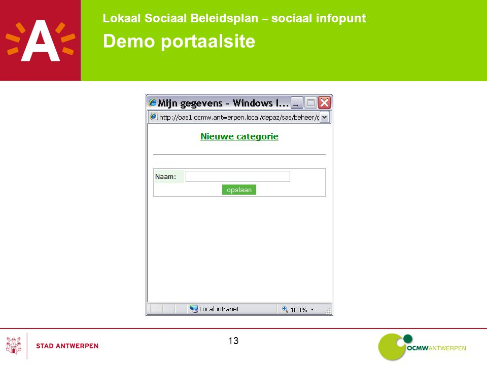 Lokaal Sociaal Beleidsplan – sociaal infopunt 13 Demo portaalsite