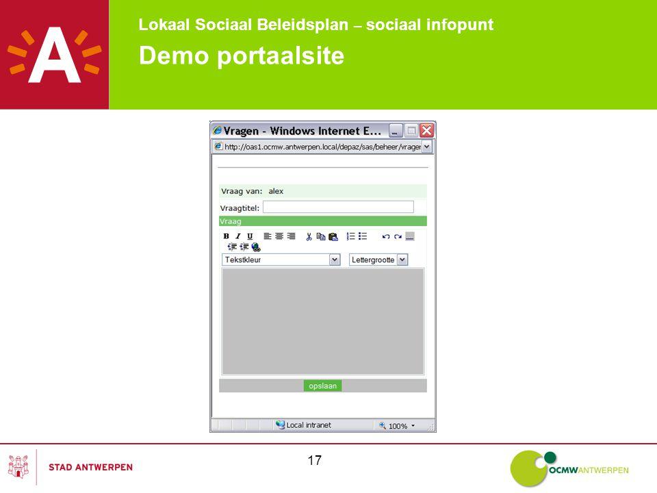 Lokaal Sociaal Beleidsplan – sociaal infopunt 17 Demo portaalsite