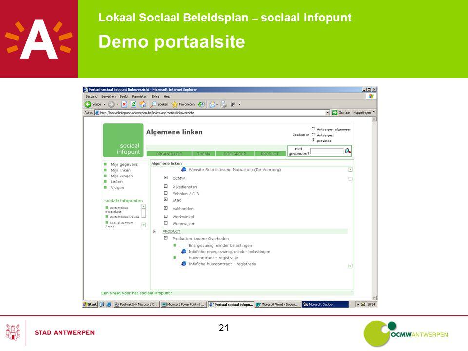 Lokaal Sociaal Beleidsplan – sociaal infopunt 21 Demo portaalsite