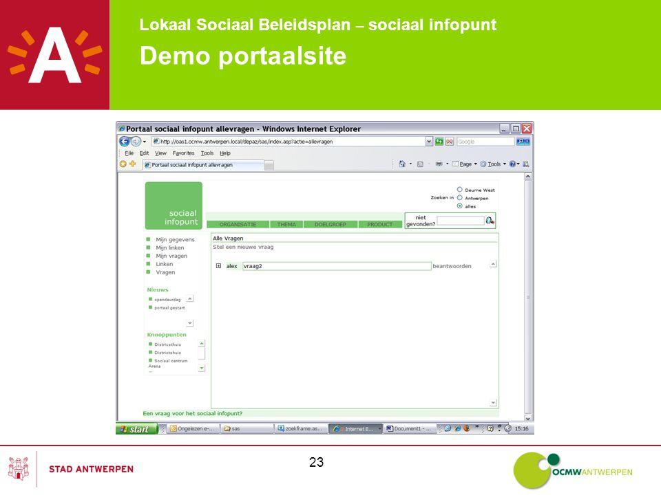 Lokaal Sociaal Beleidsplan – sociaal infopunt 23 Demo portaalsite
