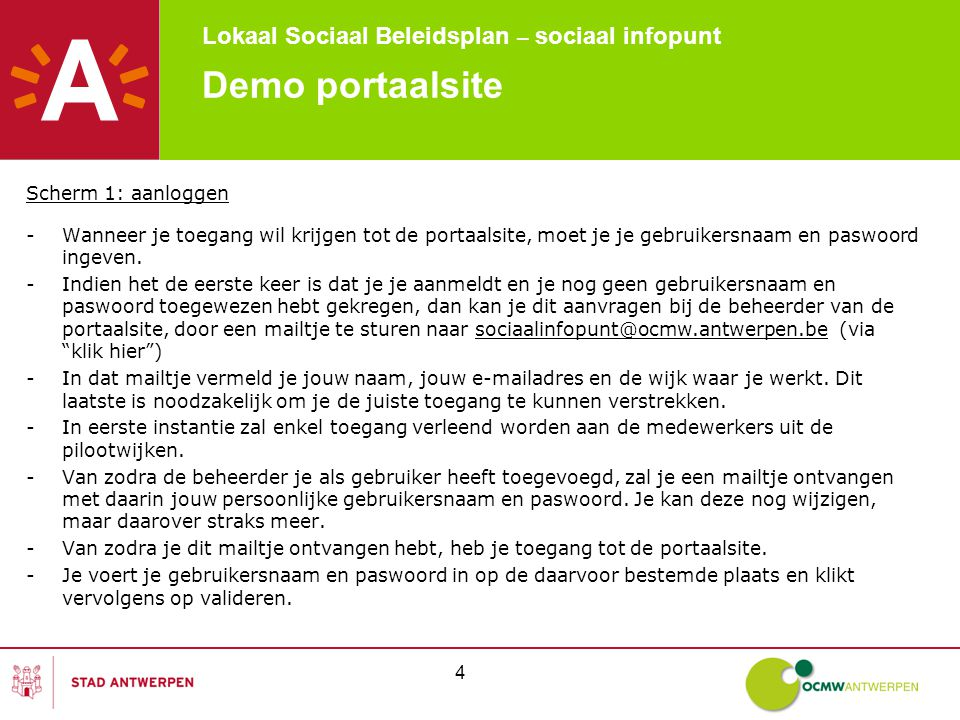 Lokaal Sociaal Beleidsplan – sociaal infopunt 5 Demo portaalsite