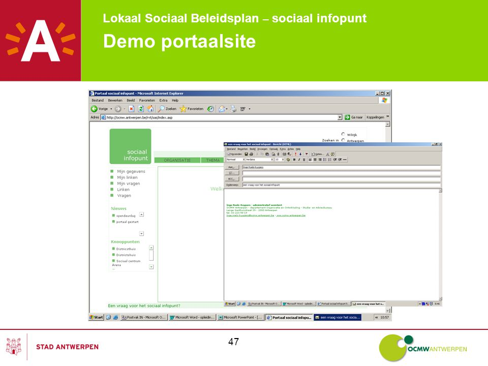 Lokaal Sociaal Beleidsplan – sociaal infopunt 47 Demo portaalsite
