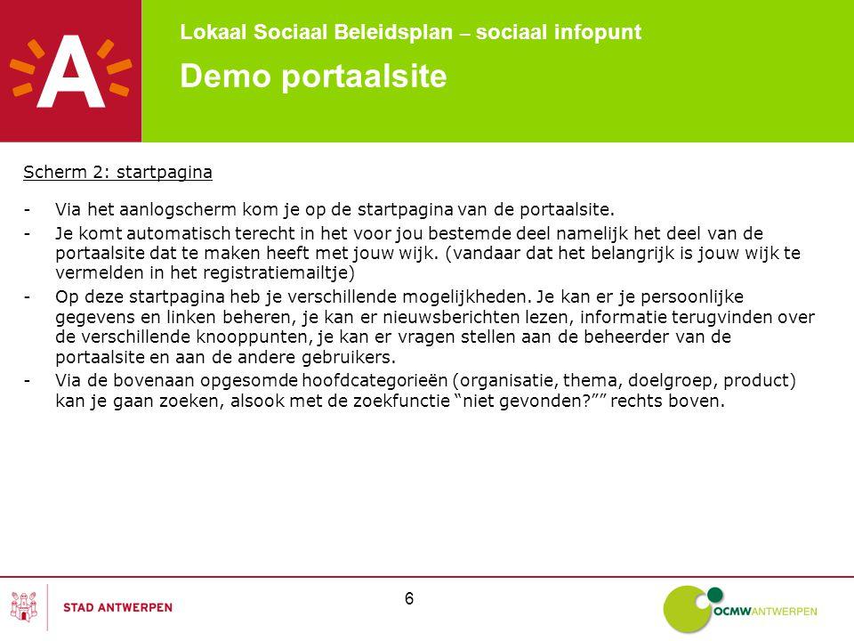 Lokaal Sociaal Beleidsplan – sociaal infopunt 37 Demo portaalsite