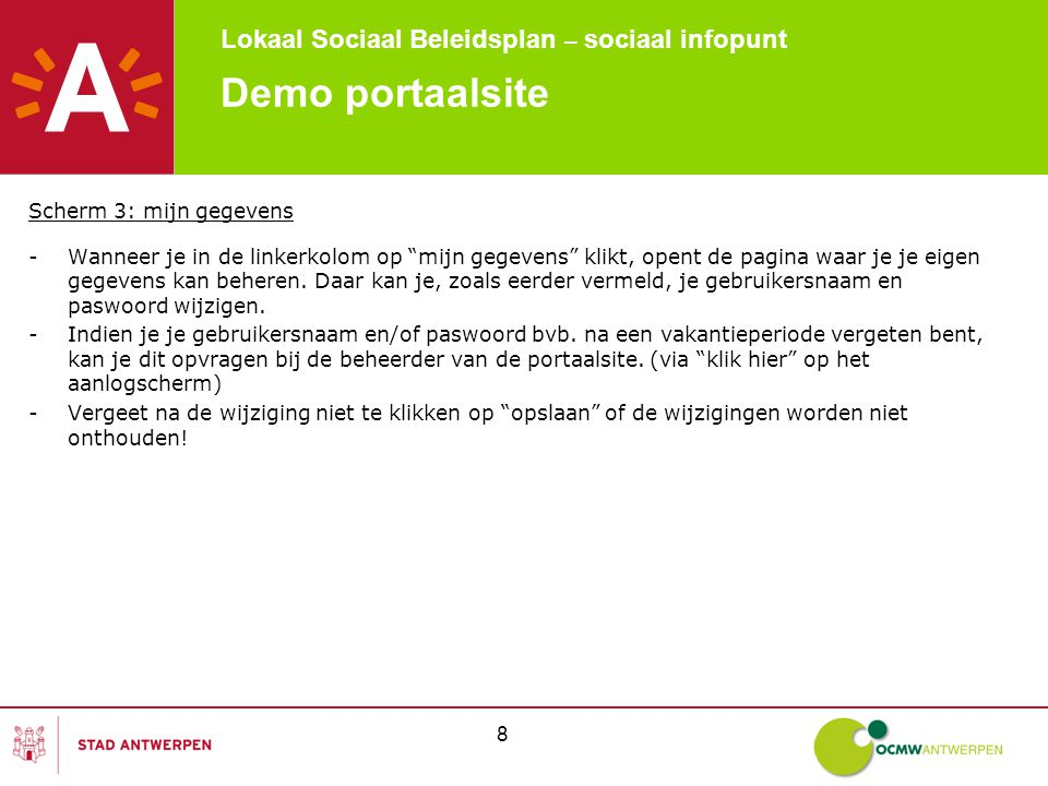 Lokaal Sociaal Beleidsplan – sociaal infopunt 9 Demo portaalsite