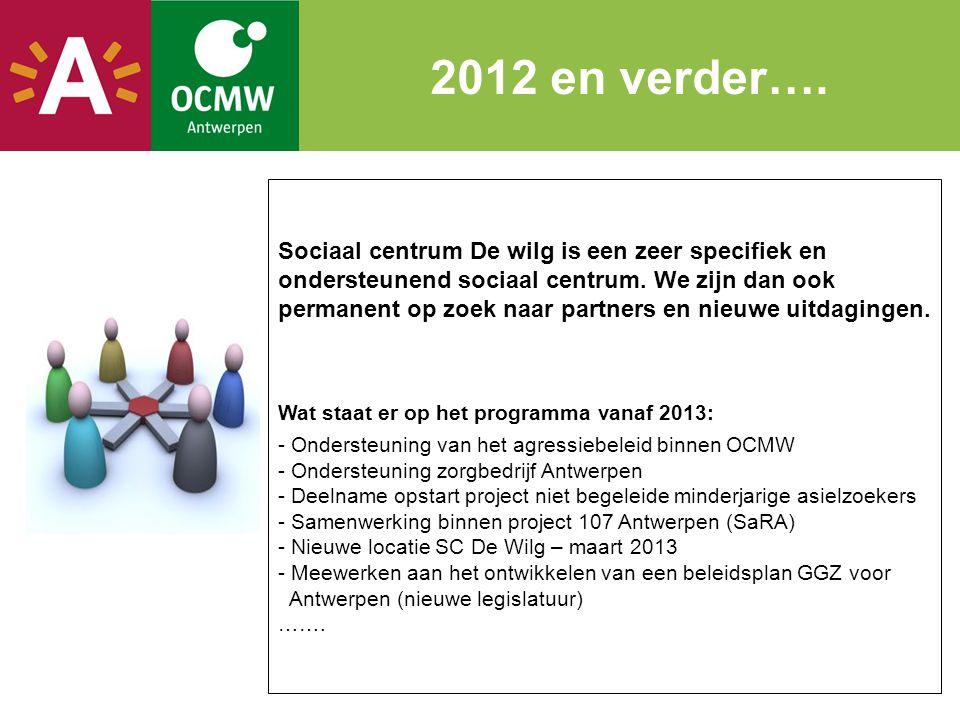 2012 en verder…. Sociaal centrum De wilg is een zeer specifiek en ondersteunend sociaal centrum. We zijn dan ook permanent op zoek naar partners en ni