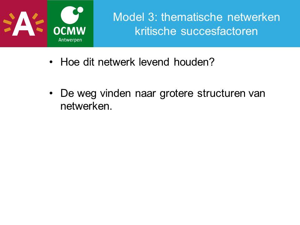 Model 3: thematische netwerken kritische succesfactoren Hoe dit netwerk levend houden.