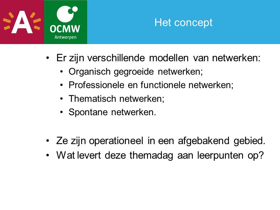 Het concept Er zijn verschillende modellen van netwerken: Organisch gegroeide netwerken; Professionele en functionele netwerken; Thematisch netwerken; Spontane netwerken.