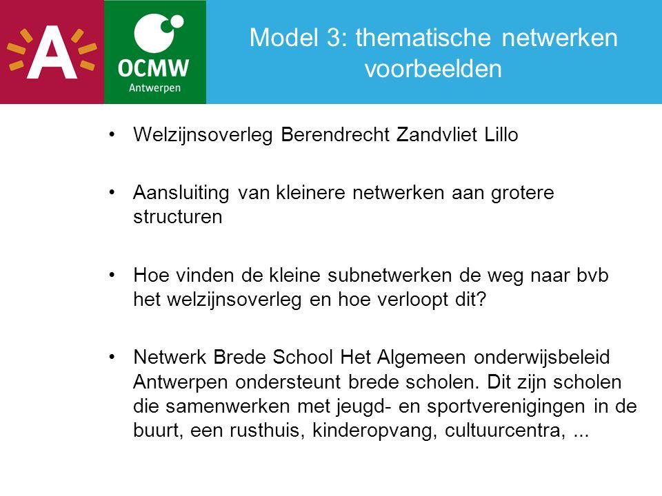 Model 3: thematische netwerken voorbeelden Welzijnsoverleg Berendrecht Zandvliet Lillo Aansluiting van kleinere netwerken aan grotere structuren Hoe vinden de kleine subnetwerken de weg naar bvb het welzijnsoverleg en hoe verloopt dit.