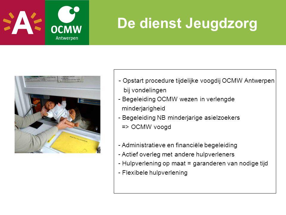 - Opstart procedure tijdelijke voogdij OCMW Antwerpen bij vondelingen - Begeleiding OCMW wezen in verlengde minderjarigheid - Begeleiding NB minderjar