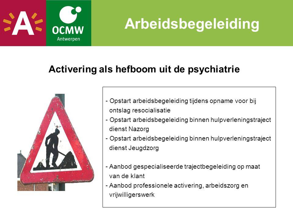 Activering als hefboom uit de psychiatrie Arbeidsbegeleiding - Opstart arbeidsbegeleiding tijdens opname voor bij ontslag resocialisatie - Opstart arb