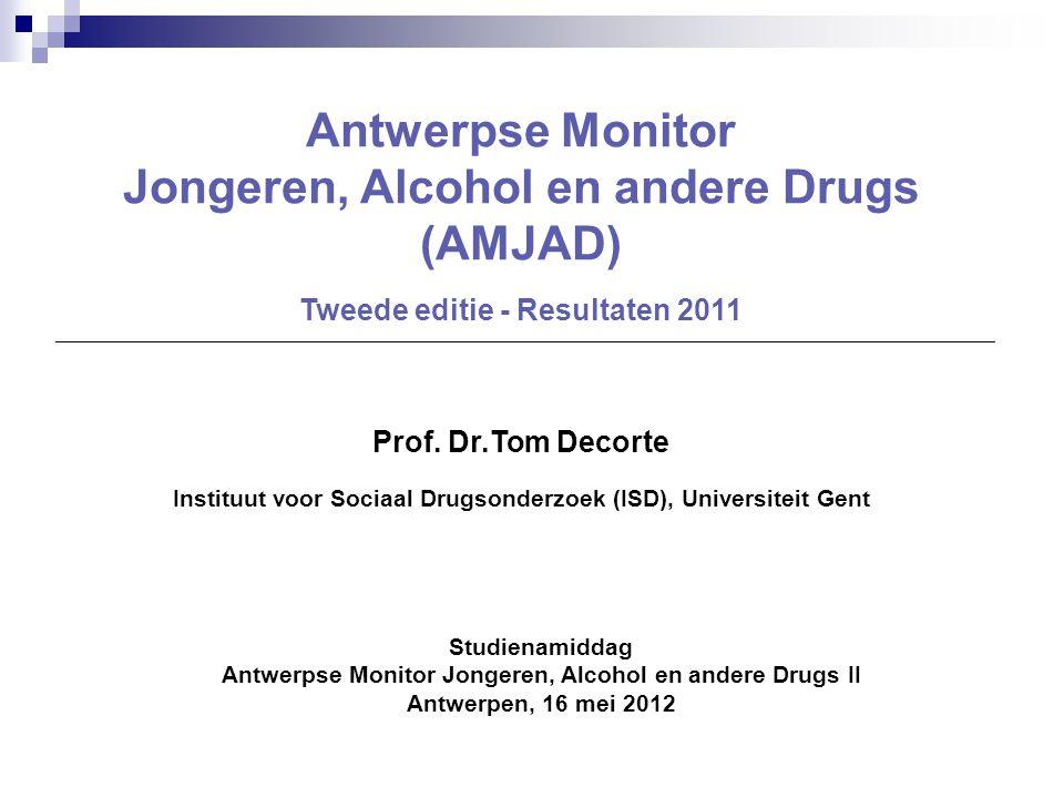 Studienamiddag Antwerpse Monitor Jongeren, Alcohol en andere Drugs II Antwerpen, 16 mei 2012 Antwerpse Monitor Jongeren, Alcohol en andere Drugs (AMJA